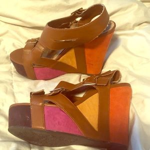 Multicolor boutique wedges